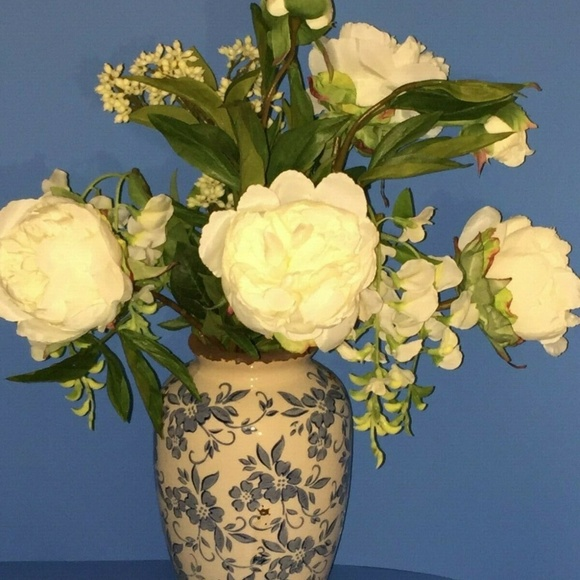 Qvc Peony Accents Peony And Wisteria Arrangement In Vase Cream Poshmark